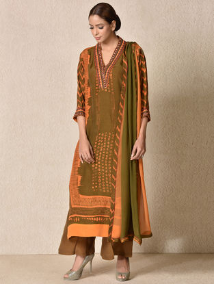 Olive Rayon Crepe Kurta with Pants and Dupatta (Set of 3)