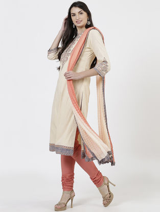 Beige Ribbed Dobby Kurta with Churidar and Dupatta (Set of 3)