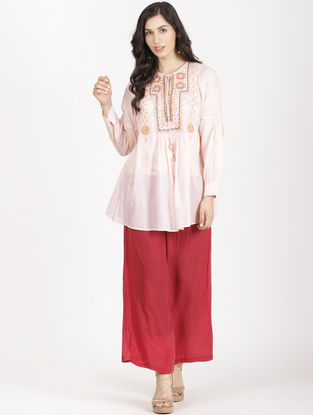 Pink Organdy Embroidered Kurta with Inner