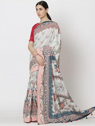 Ivory-Pink Chanderi Saree