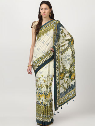 Ivory-Yellow Chanderi Saree