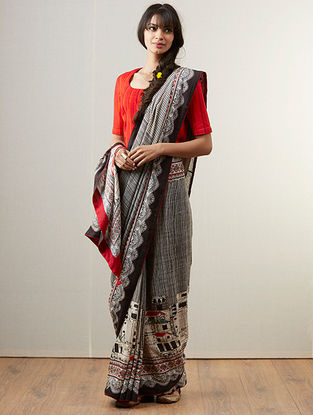 Black Organic Fibre Saree