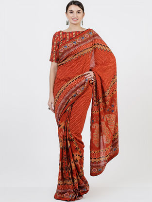 Red Organic Fibre Saree