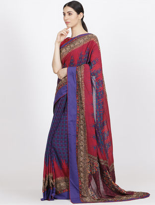 Navy Blue Organic Fibre Saree