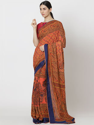 Peach Organic Fibre Saree