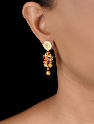 Pink Gold-plated Silver Earrings