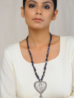 Iolite Beaded Silver Necklace