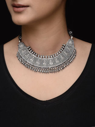 Tribal Silver Necklace with Lord Ganesha Motif