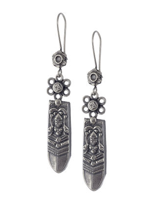 Tribal Silver Earrings with Deity Motif