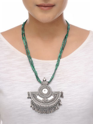 Malachite Beaded Silver Necklace
