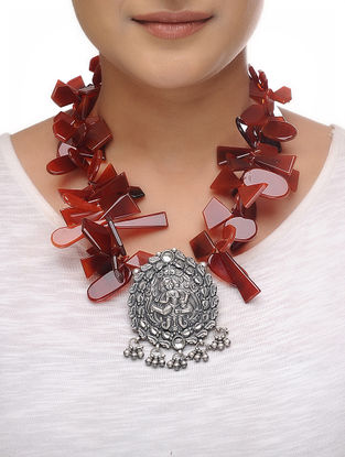 Red Onyx Beaded Silver Necklace