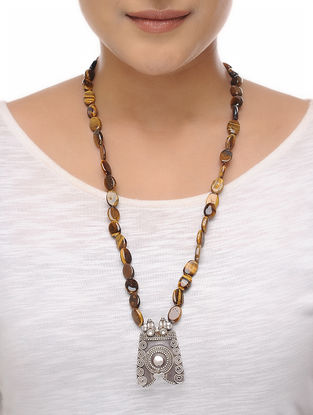 Tigers Eye Beaded Silver Necklace