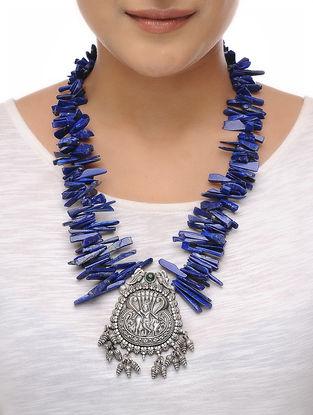 Lapis Lazuli Beaded Silver Necklace with Deity Motif