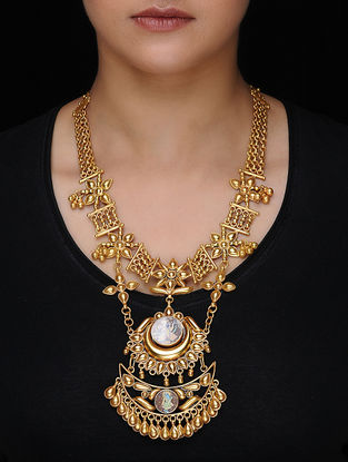 Gold-plated Silver Necklace with Hand-painted Deity Motif