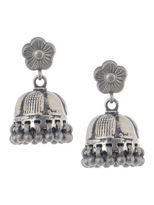 Tribal Silver Jhumkis with Floral Design