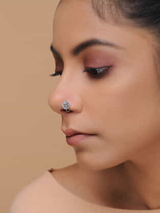 Tribal Silver Nose Pin with Floral Motif