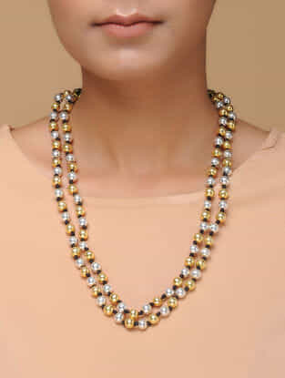 Dual Tone Beaded Silver Necklace
