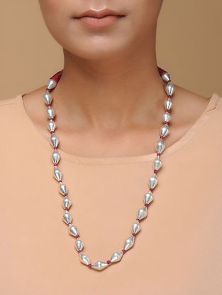 Tribal Dholki Beaded Silver Necklace