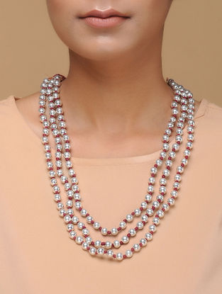 Tribal Silver Beaded Necklace