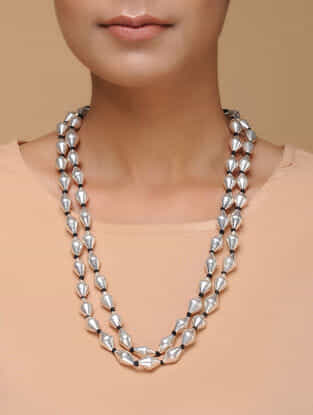 Tribal Silver Dholki Beaded Necklace