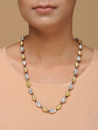 Dual Tone Dholki Beaded Silver Necklace