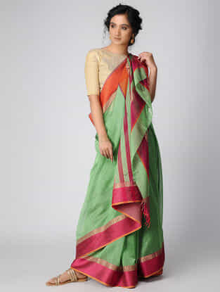 Green-Pink Maheshwari Saree with Zari