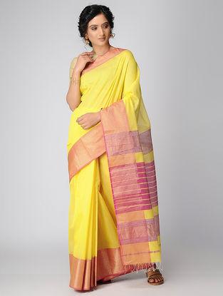 Yellow-Pink Maheshwari Saree with Zari