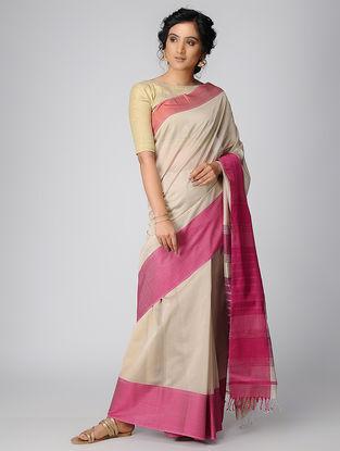 Beige-Pink Maheshwari Saree