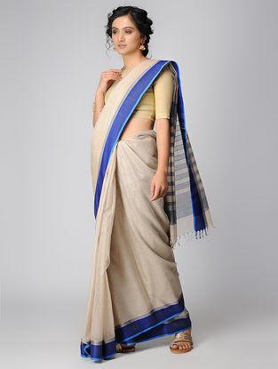 Beige-Blue Maheshwari Saree