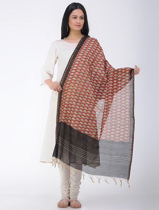 Red-Black Bagru and Dabu Printed Chanderi Dupatta with Zari Border