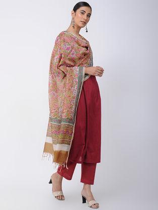 Beige-Pink Block-printed Chanderi Dupatta with Zari