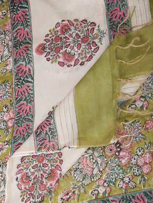 Green-Pink Block-printed Chanderi Dupatta with Zari
