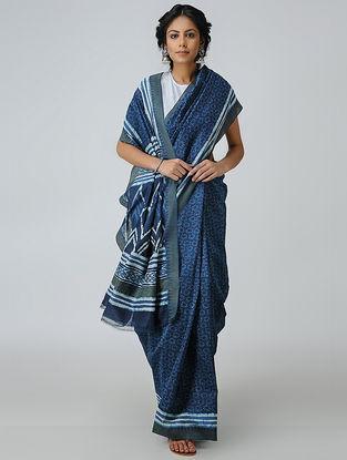 Blue-Ivory Dabu-printed Chanderi Saree