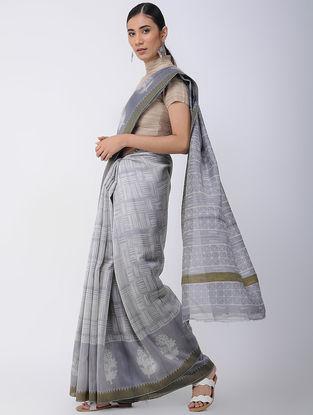Grey-Ivory Shibori-dyed Chanderi Saree with Ghicha Border