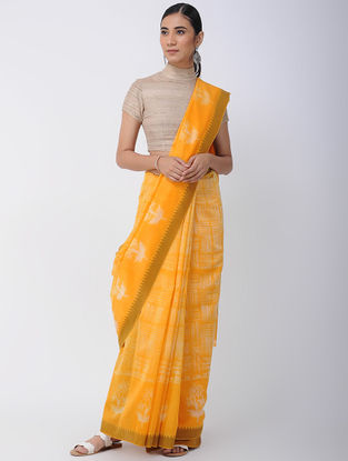 Yellow-Ivory Shibori-dyed Chanderi Saree with Ghicha Border