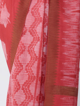 Pink-Ivory Shibori-dyed Chanderi Saree with Ghicha Border