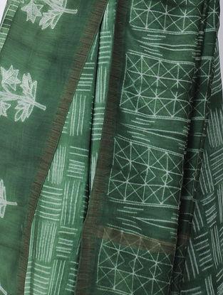 Green-Ivory Shibori-dyed Chanderi Saree