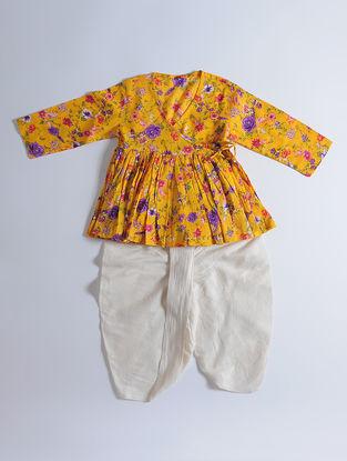 Yellow Floral Printed Cotton Kediya with Cream Dhoti