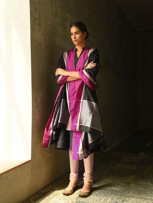 Black Cotton Silk Dupatta with Zari