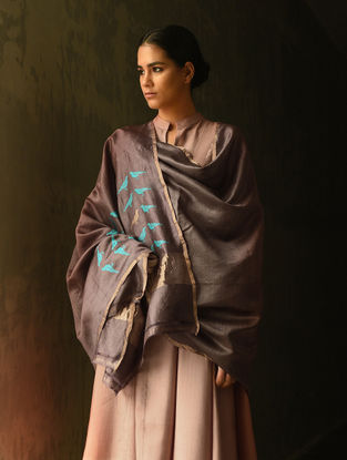 Brown Silk Dupatta with Zari