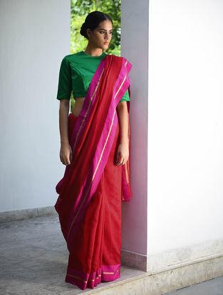 Red-Pink Cotton Silk Saree with Zari