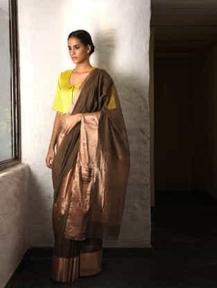 Brown Cotton Silk Saree with Zari