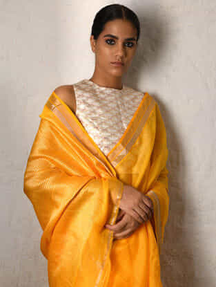 Yellow Cotton Silk Saree with Zari