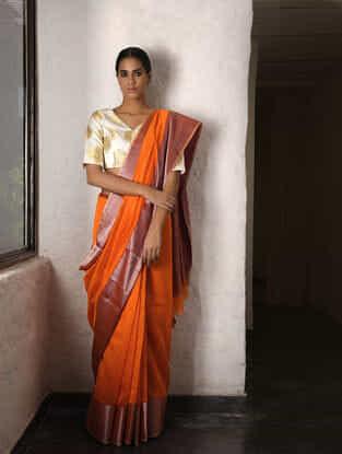 Orange Cotton Silk Saree with Zari