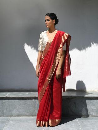 Red Cotton Silk Saree with Zari