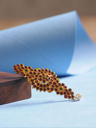 Maroon-Green Gold Tone Brooch For Men