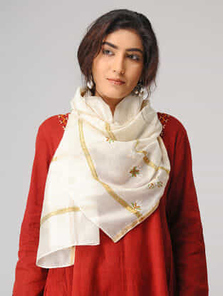 Ivory-Green Suf-embroidered Chanderi Stole with Zari Border