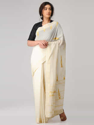 Ivory-Yellow Suf-embroidered Organic Cotton Saree with Zari Border