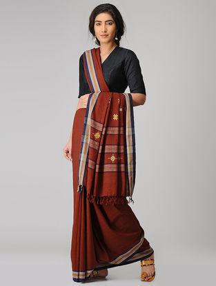 Maroon-Blue Suf-embroidered Malkha Saree