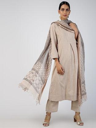 Beige Cotton Slub Kurta